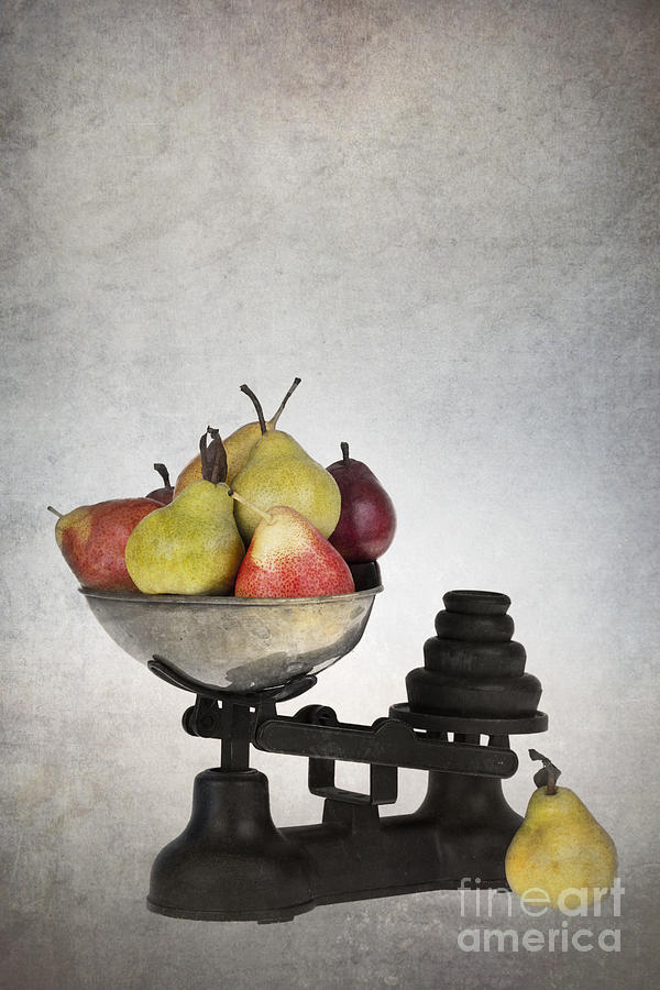 Aged Photograph - Weighing Pears by Jane Rix