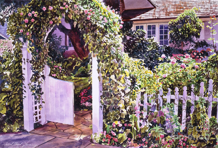 Watercolor Gardens Painting - Welcome Rose Covered Gate by David Lloyd Glover
