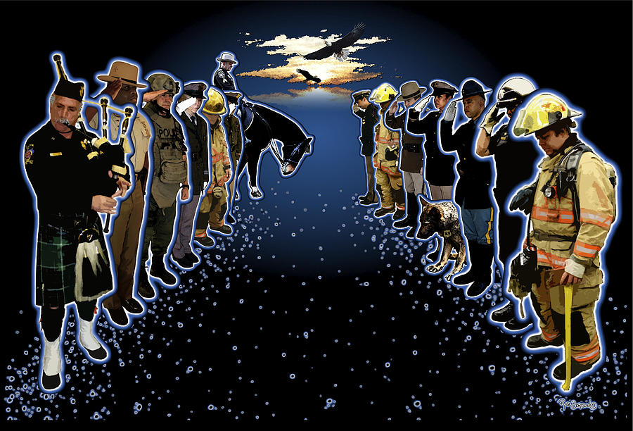 Police Officer Digital Art - Welcoming The Fallen by Rose Borisow