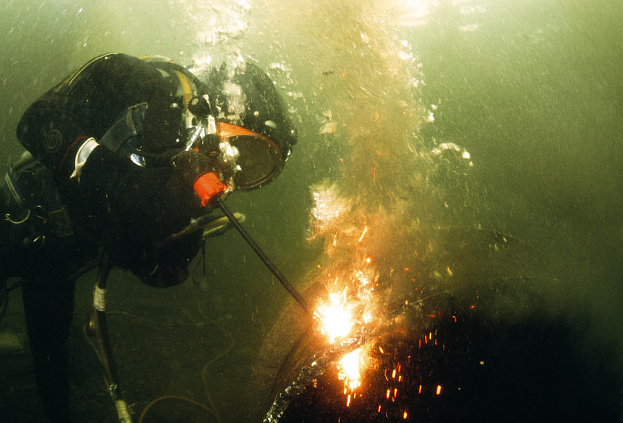 Diver Photograph - Welding Underwater by Peter Scoones