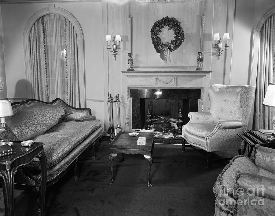 Well appointed living room photograph by h for Living room 1940