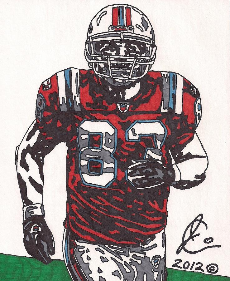 New England Patriots Player Drawings Drawing - Wes Welker by Jeremiah Colley