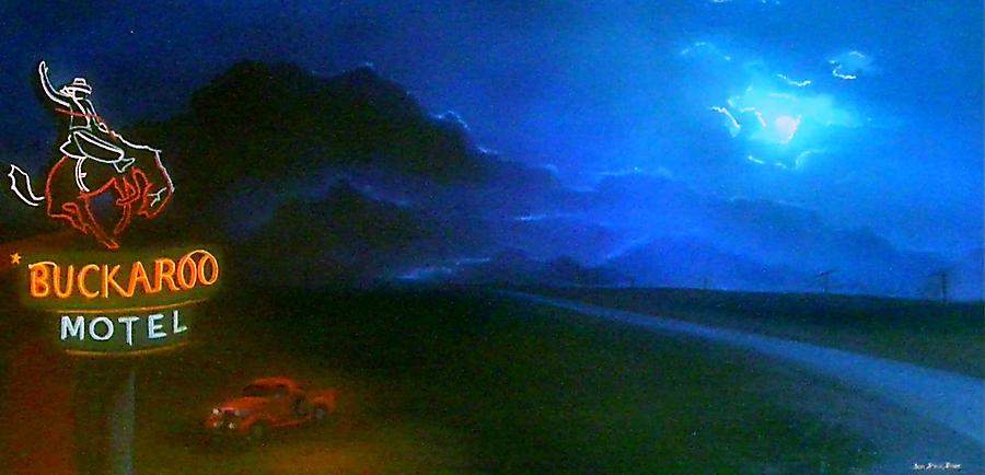 Neon Painting - West Texas Moon by Jon Paul Price