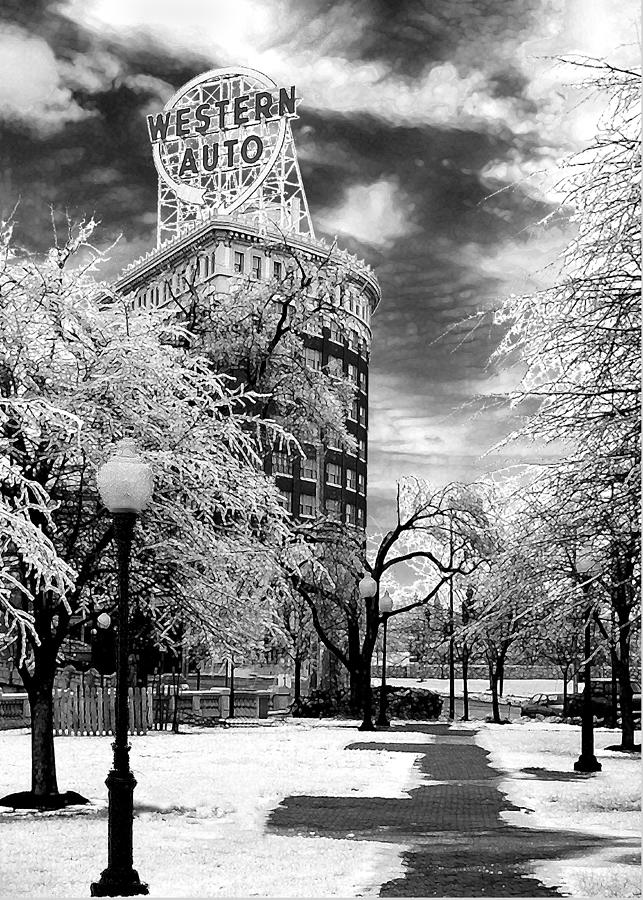 Western Auto Kansas City Photograph - Western Auto In Winter by Steve Karol