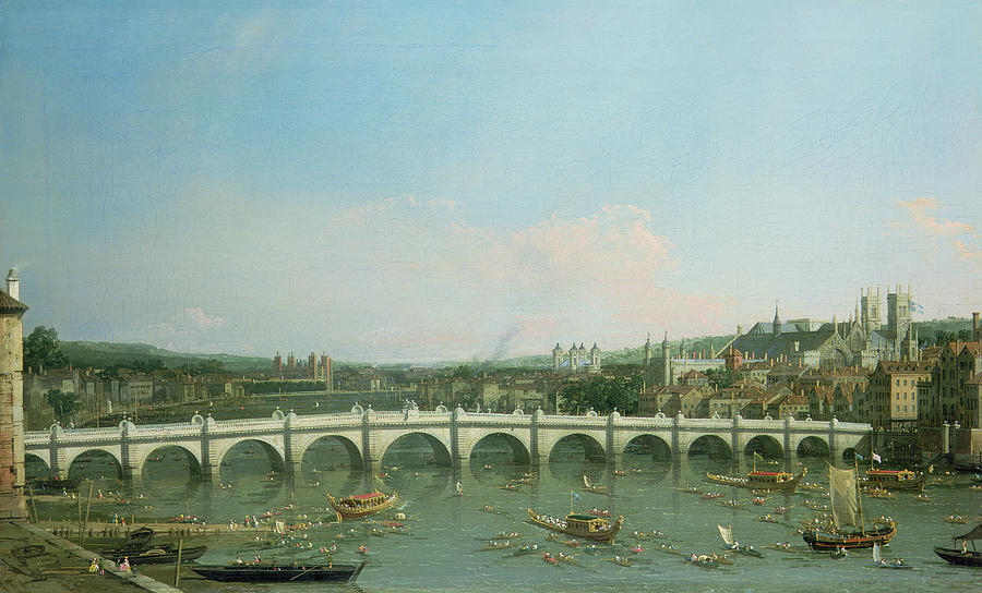 Canaletto Painting - Westminster Bridge From The North With Lambeth Palace In Distance by Canaletto