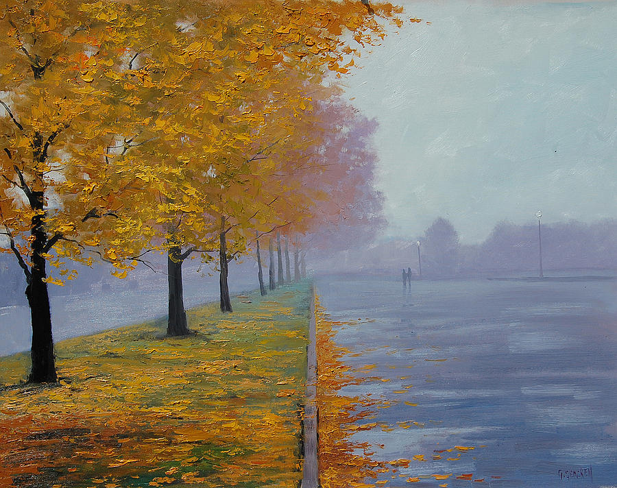 Yellow Painting - Wet Autumn Day by Graham Gercken