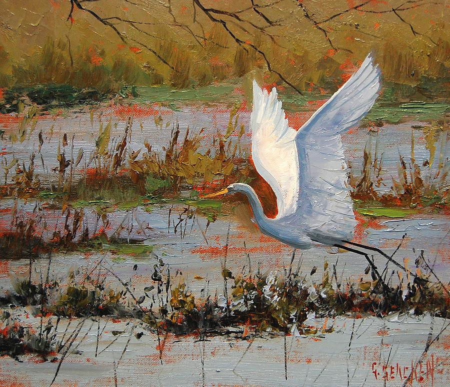Heron Painting - Wetland Heron by Graham Gercken