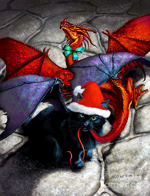 Cat Digital Art - What The Catabat Dragged In For Christmas  Card by Stanley Morrison