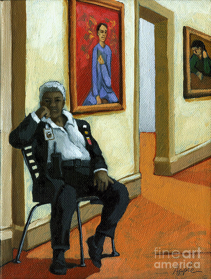 Art Museum Painting - Whats In The Pose - Figurative Oil Painting by Linda Apple