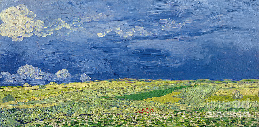 Field; Cloud; Sky; Landscape; Countryside; Post-impressionist; Auvers Sur Oise; French Painting - Wheatfields Under Thunderclouds by Vincent Van Gogh