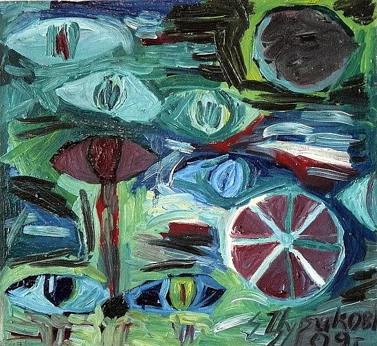 Wheel And The Moon Painting