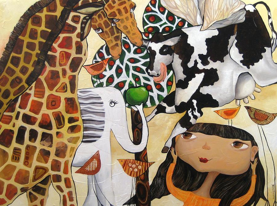 Giraffe Painting - When Giraffes Were Big by Yelena Revis