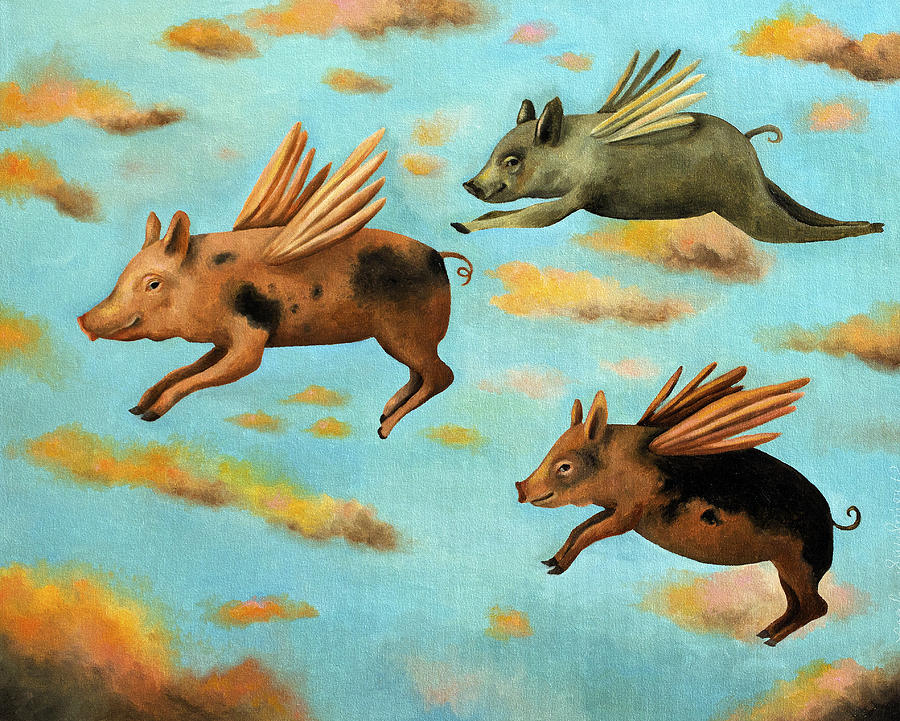 Pig Painting - When Pigs Fly by Leah Saulnier The Painting Maniac