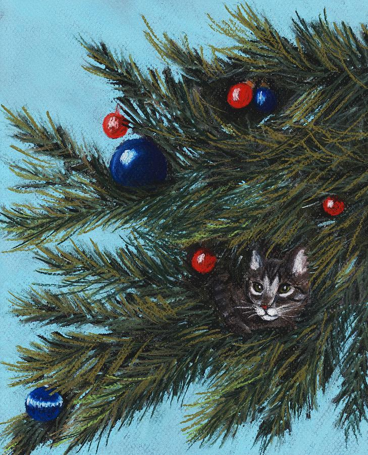 Cat Painting - Where Is Santa by Anastasiya Malakhova