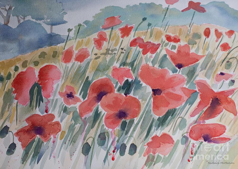 Poppy Painting - Where Poppies Grow by Barbara McMahon