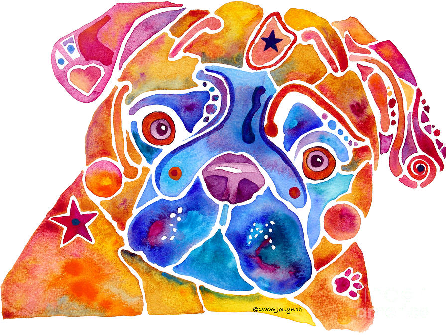 Pug Painting - Whimsical Pug Dog by Jo Lynch