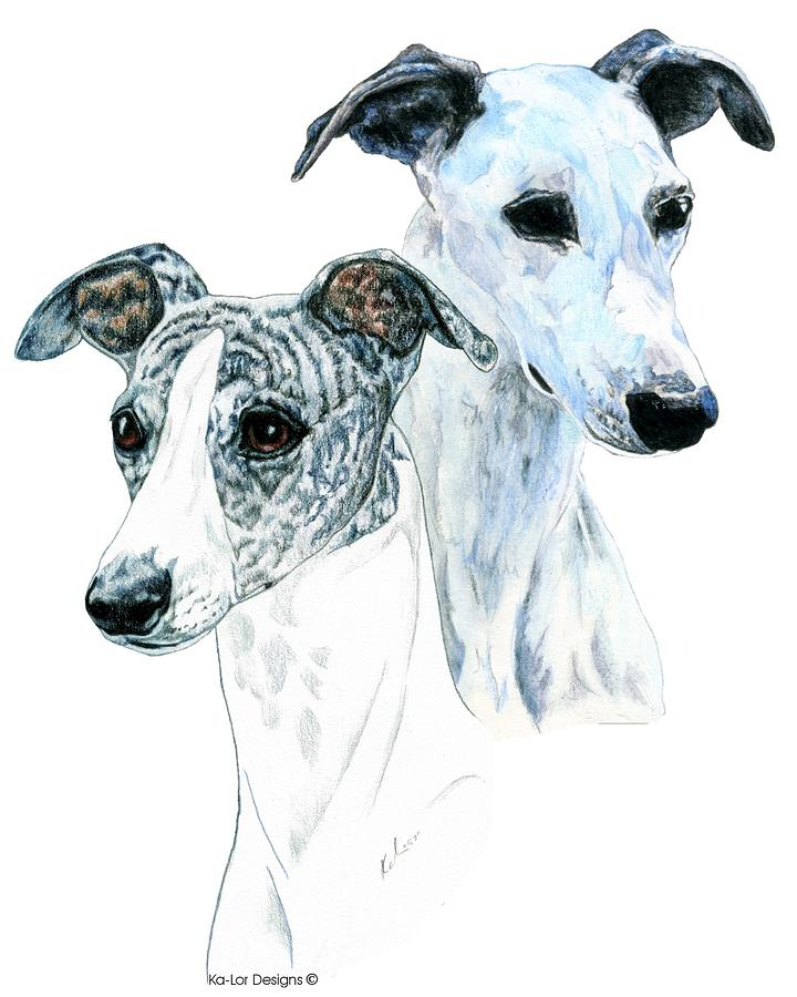 Whippet Painting - Whippet Pair by Kathleen Sepulveda