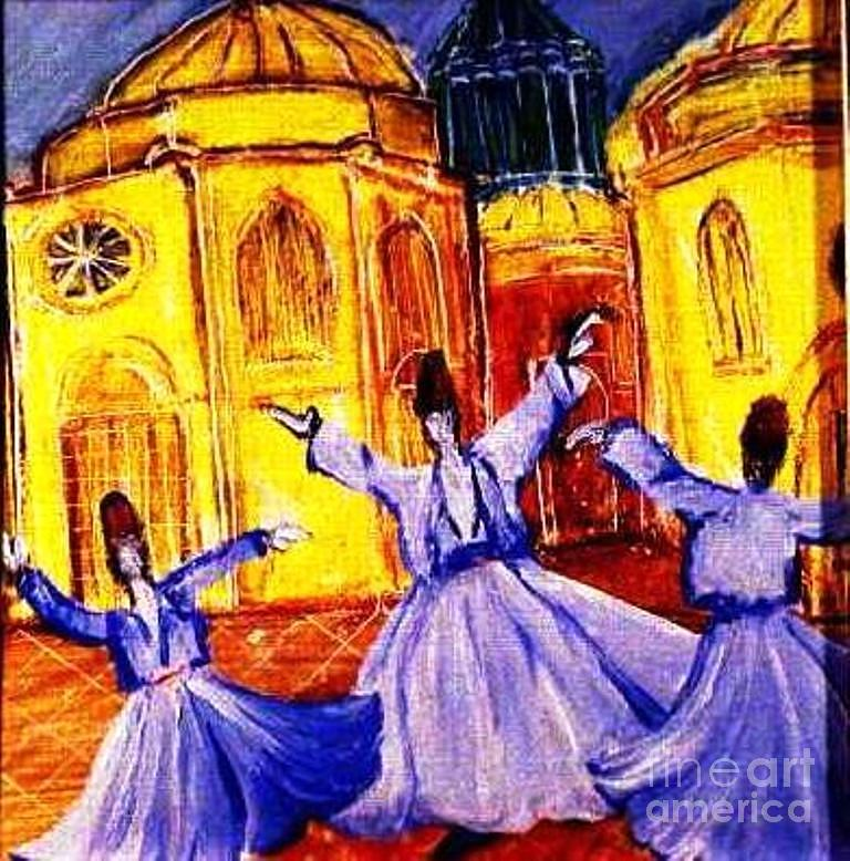 Mystical Painting - Whirling Dervishes 2 by Duygu Kivanc