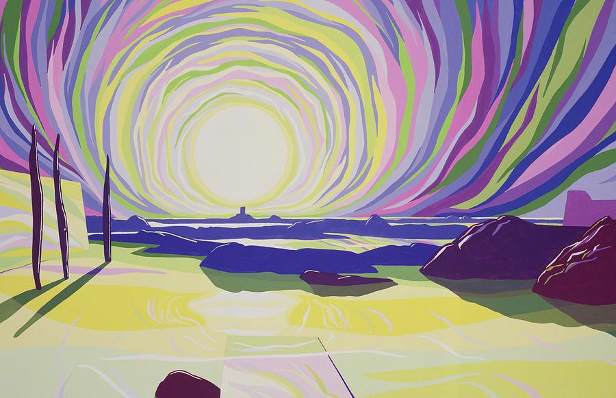 Sun; Dawn; Sea; Rocks; Beach; Seascape; Psychedelic; Mountains; Atmospheric; Colorful;; Sunrise; Mountain; Atmosphere; Rock; Whirl; Whirling Painting - Whirling Sunrise - La Rocque by Derek Crow