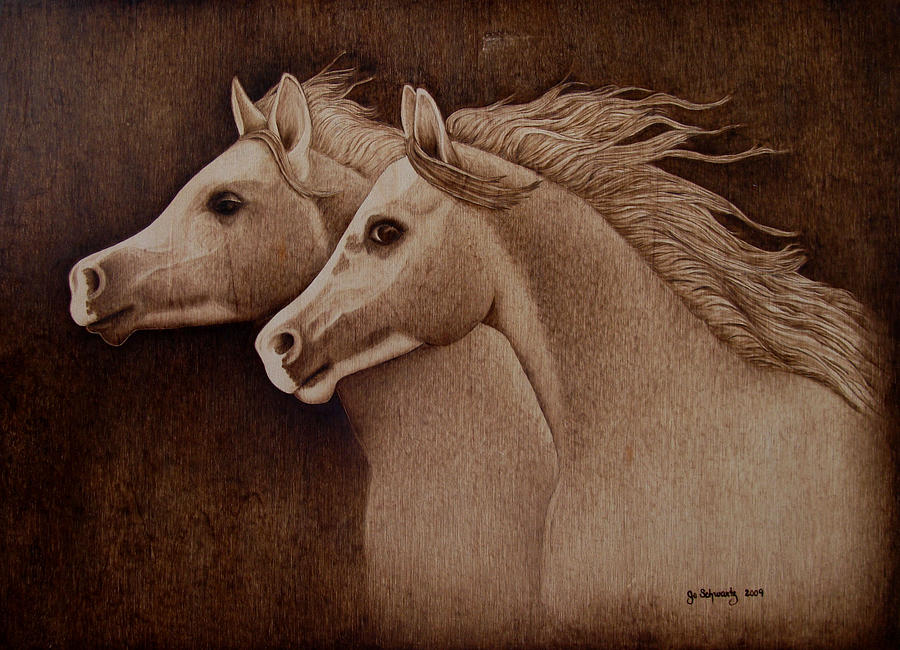 Pyrography; Woodburning; Sepia; Horses; Horse Head; Wind; Equestrian Pyrography - Whispers by Jo Schwartz