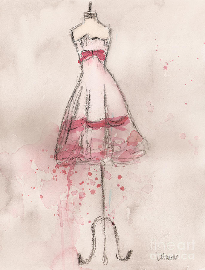 White Painting - White And Pink Party Dress by Lauren Maurer