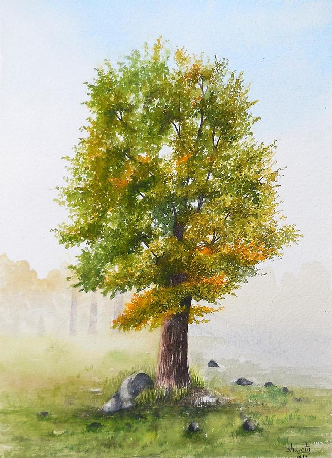 White Ash Tree Painting By Shweta Mahajan