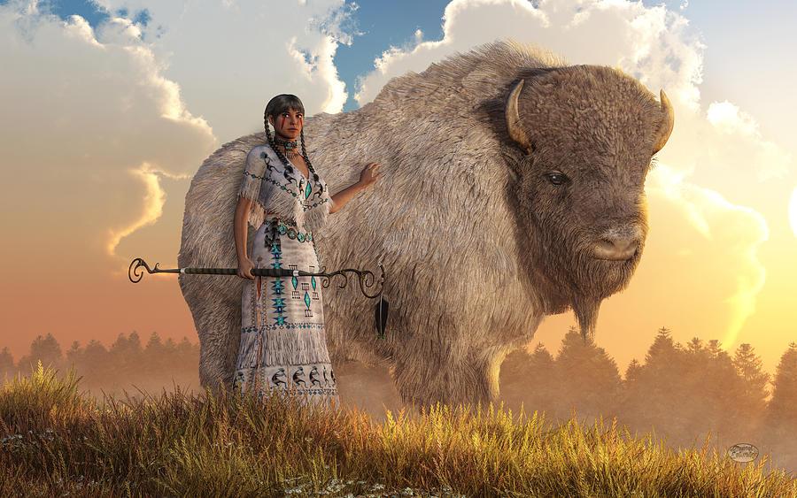 White Buffalo Calf Woman Digital Art By Daniel Eskridge