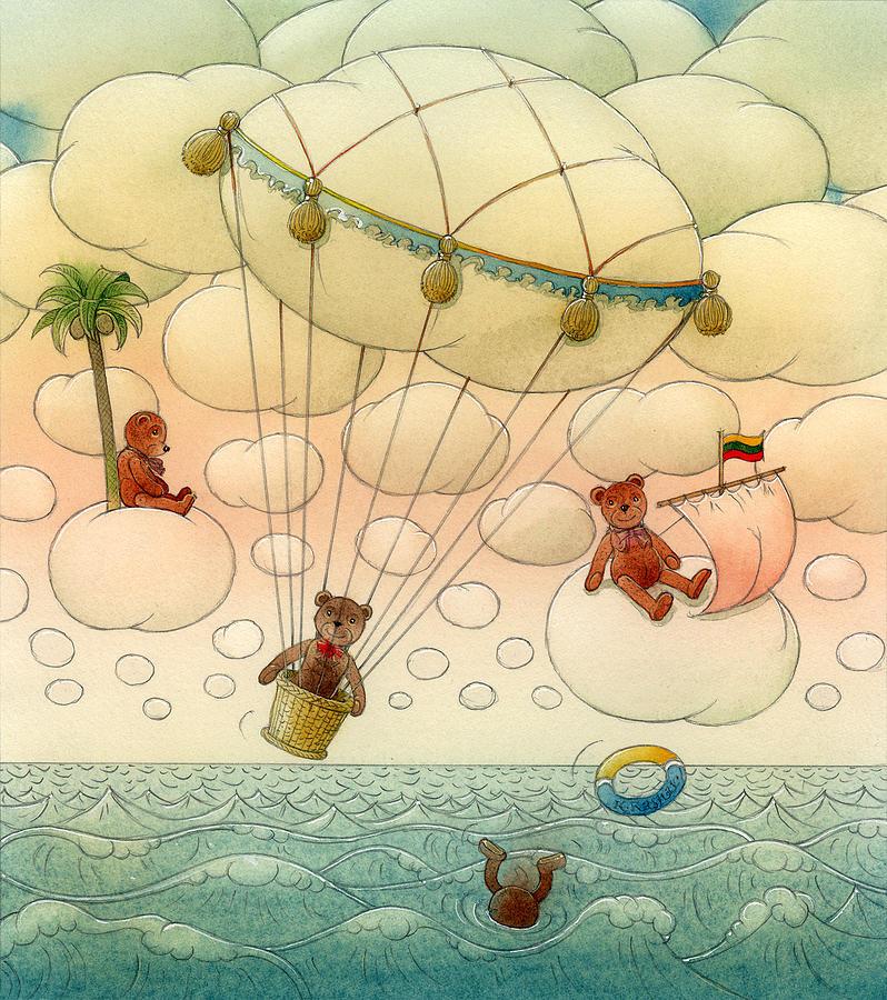 Sky Sea Clouds Summer Travel Teddy Blue White Painting - White Dream 02 by Kestutis Kasparavicius