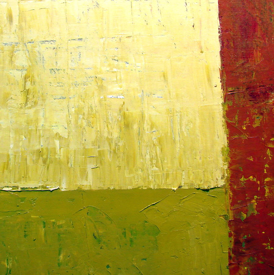 Red Painting - White Green And Red by Michelle Calkins