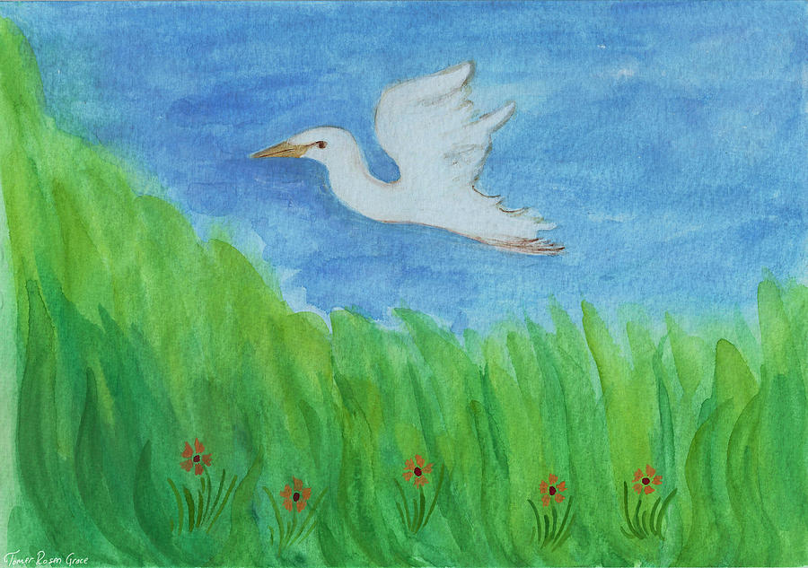 White heron in flight painting by tomer rosen grace for White heron paint