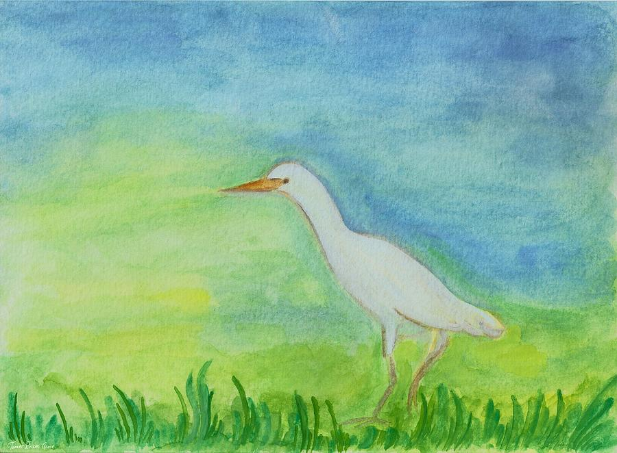 White heron in green field painting by tomer rosen grace for White heron paint
