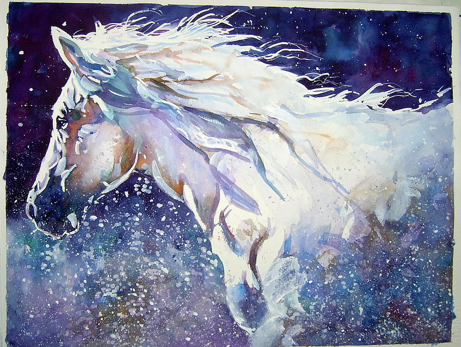White Horse In The Water Painting by Bob Snider