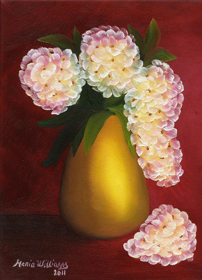 White Hydrangeas Painting - White Hydrangeas In A Golden Vase by Maria Williams