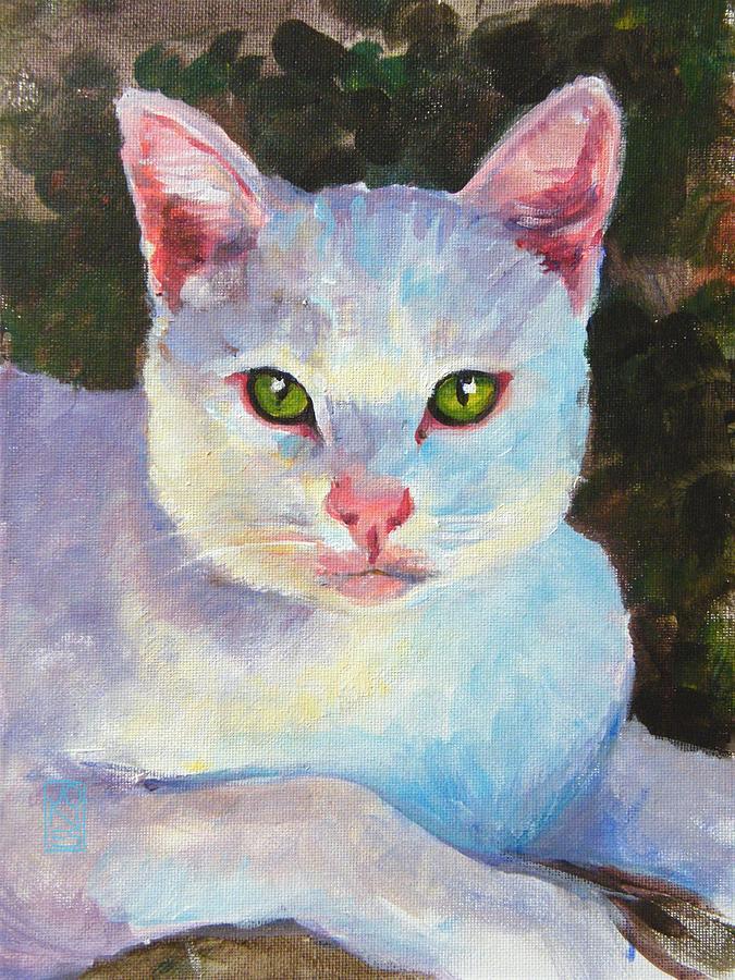 Pet Portraits Painting - White Kitty by Debra Jones