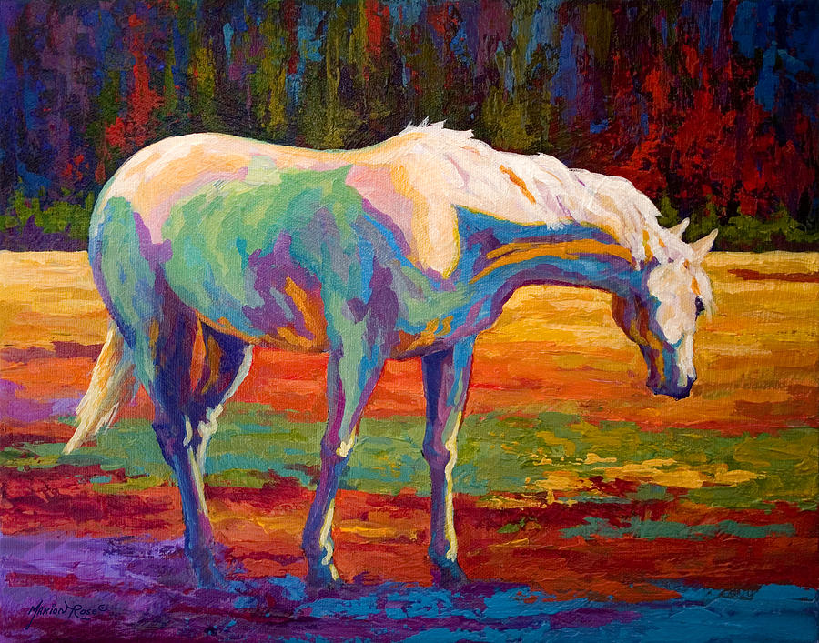 Horses Painting - White Mare II by Marion Rose