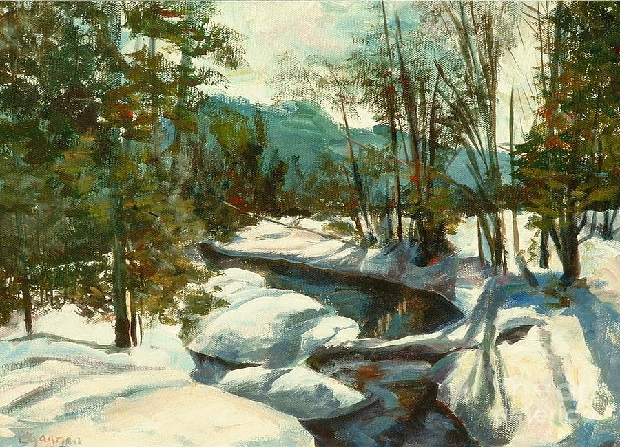 White Painting - White Mountain Winter Creek by Claire Gagnon