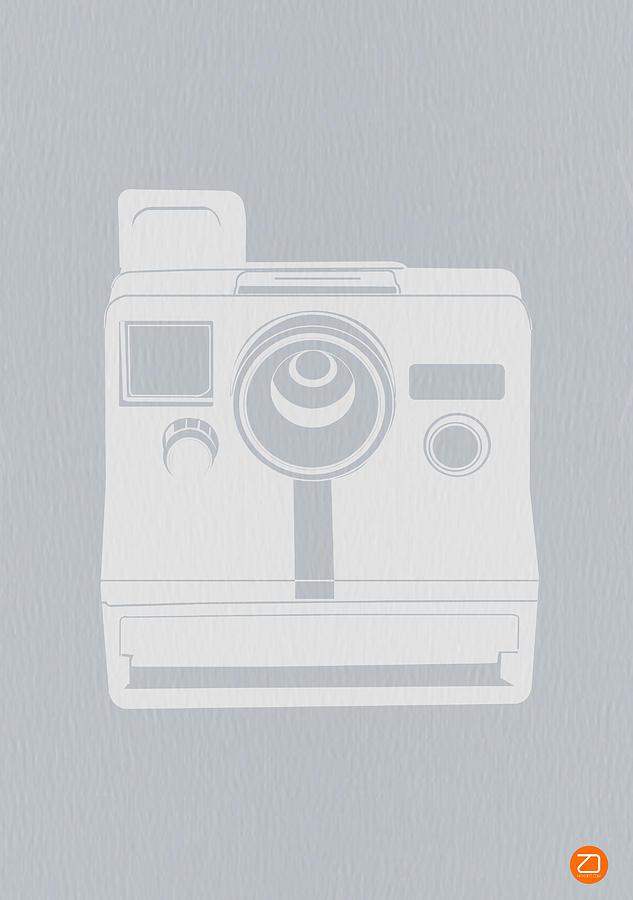Polaroid Photograph - White Polaroid Camera by Naxart Studio