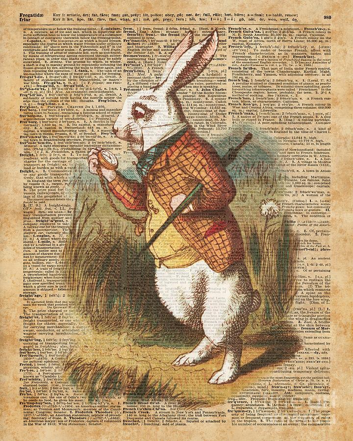 white rabbit alice in wonderland vintage art digital art