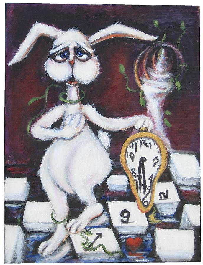 Rabbit Painting - White Rabbit by Cathi Doherty
