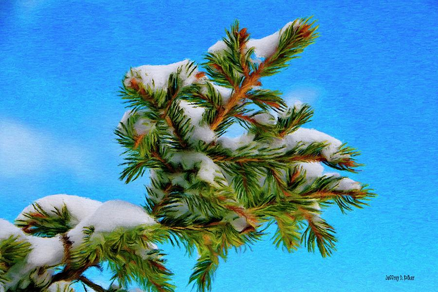 Blue Painting - White Snow On Evergreen by Jeff Kolker