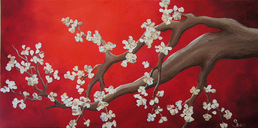 Tree Blossoms Painting - White Tree Blossoms by Shiela Gosselin