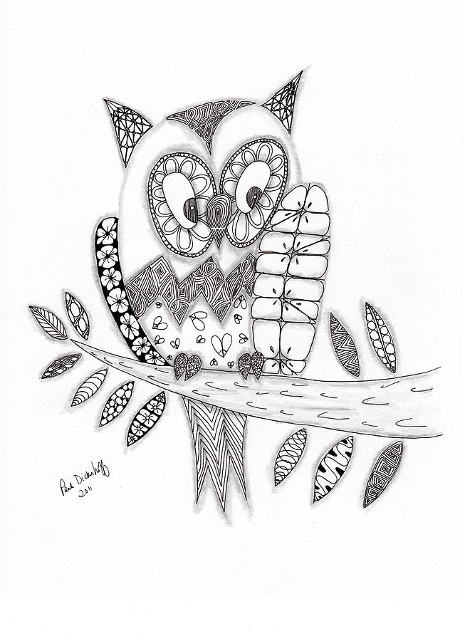 Owl Drawing - Who Says The Owl by Paula Dickerhoff