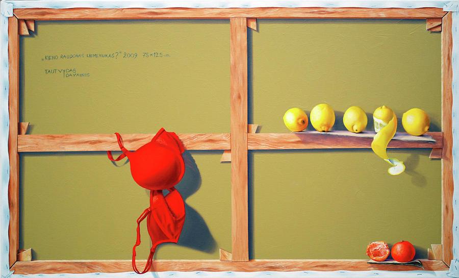 Oil  Painting - Whose Red Bra. by Tautvydas Davainis