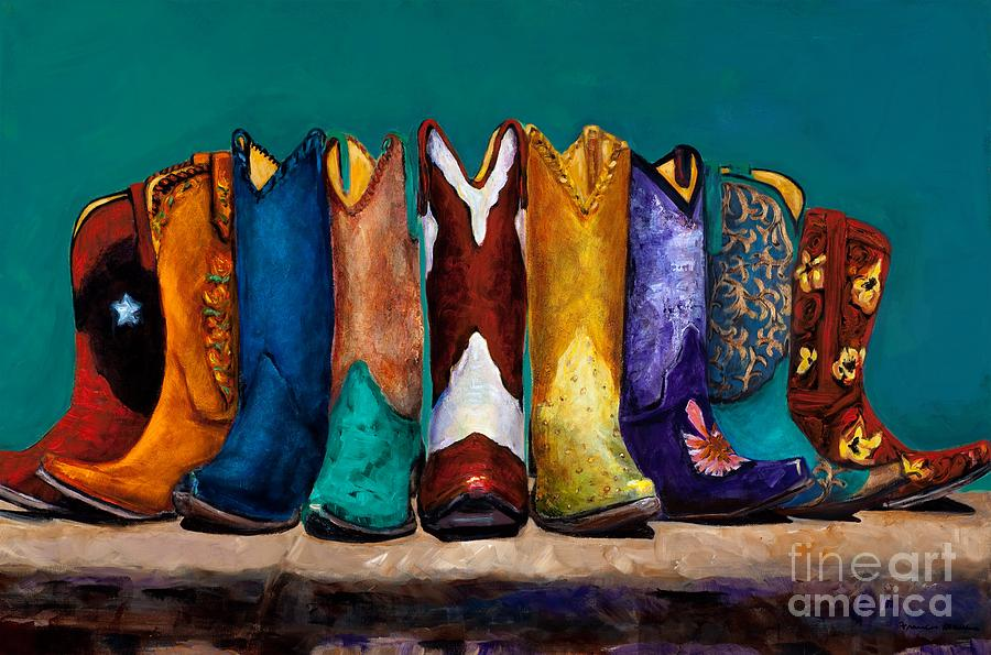 Cowboy Boot Painting - Why Real Men Want To Be Cowboys 2 by Frances Marino