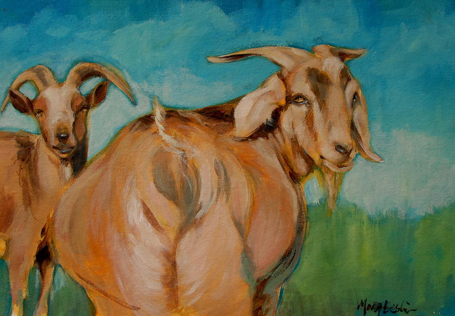 Goats Painting - Wide Load by Mary Leslie