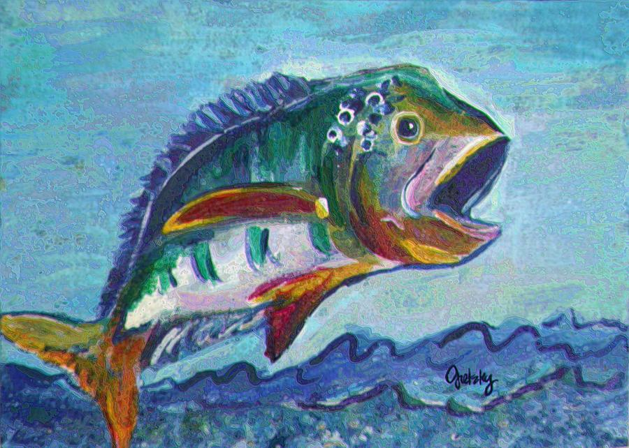 Wide Mouth Bass Painting by Paintings by Gretzky