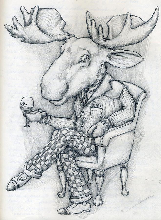 Wilcox Drawing - Wilcoxmoose by Alexander M Petersen