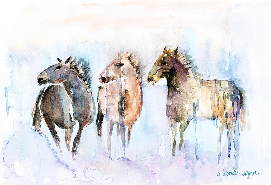 Horse Painting - Wild And Free by Arline Wagner