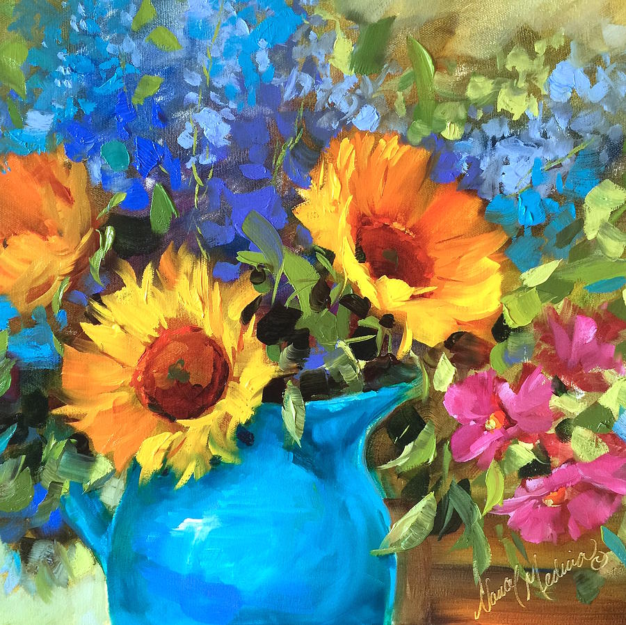 Wild Garden Sunflowers Painting By Nancy Medina