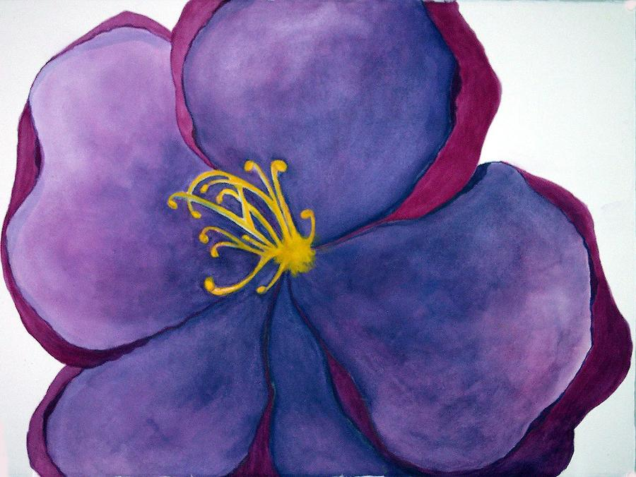 Purple Pink Flower Abstract Painting - Wild Rose by Anna Villarreal Garbis